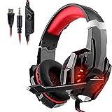 Galopar Stereo Gaming Headset mit Mikrofon & LED-Licht, Deep Bass, Noise Cancelling, Surround Sound System & zusätzlichem 3,5 mm Y-Klinkenadapter Kompatibel mit PS4/5, Xbox One, PC, Laptop, NS, Mac