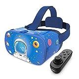 DESTEK VR Brille für Kinder, 110°FOV, Anti-Blaulicht HD Virtual Reality mit Bluetooth Fernbedienung für iPhone 11/Pro/X/Xs/Max/XR/8P/7P, Samsung S20/S10/S9/S8/Note 10/9/8/Plus