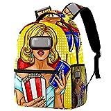 Kinder Rucksack Schultasche Leichte Kinder Grundschule Tasche Große Kapazität Vorschulkindergarten Buch Reisetasche Frau mit Virtual-Reality-Brille